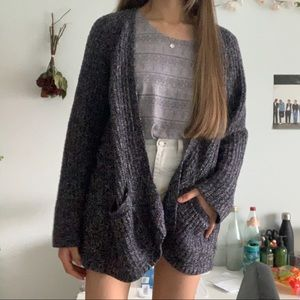 Grey and white knitted cardigan